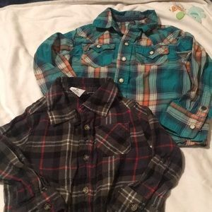 Lot of 2 green plaid shirts